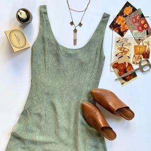 Ann Taylor Vintage Scoop Neck Sage Lined Dress